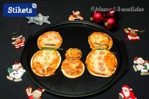 Pizzas en forme de bonhomme de neige