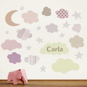 Sticker Lune, étoiles et nuages personnalisable.