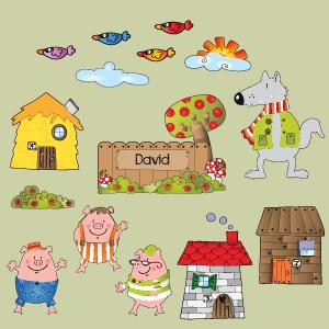 sticker Trois petits cochons personnalisable