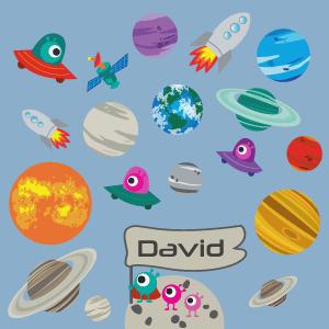 Sticker Planètes et fusées personnalisable