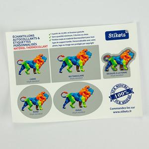 Echantillon étiquettes thermocollantes sur mesure