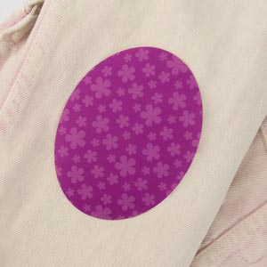 Patch thermocollant ovale motif fleurs pour textile